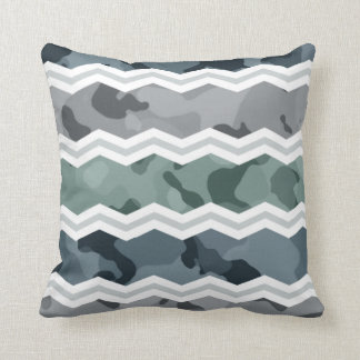 Slate Blue and Gray Camo Chevron Pattern Throw Pillow