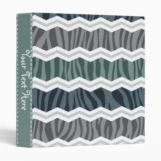 Slate Blue and Gray Zebra Print Chevron Stripes Binder