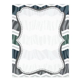 Slate Blue and Gray Zebra Print Chevron Stripes Personalized Letterhead