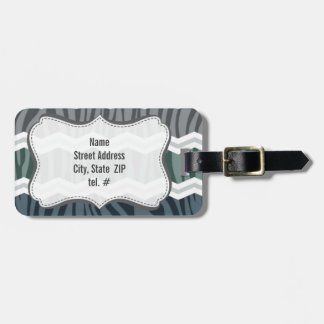 Slate Blue and Gray Zebra Print Chevron Stripes Tag For Luggage