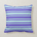 [ Thumbnail: Slate Blue and Light Blue Colored Lines Pattern Throw Pillow ]