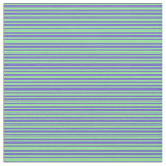 [ Thumbnail: Slate Blue and Light Green Pattern of Stripes Fabric ]
