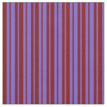 [ Thumbnail: Slate Blue and Maroon Stripes Pattern Fabric ]