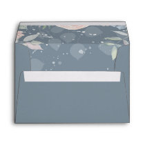Slate Blue and Peach Flowers Elegant Wedding Envelope