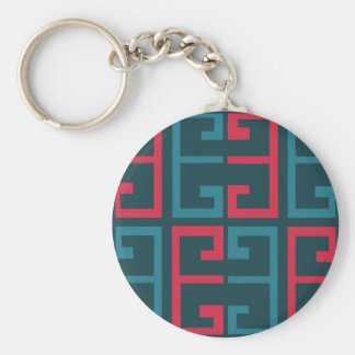 Slate Blue and Pink Tile Keychain