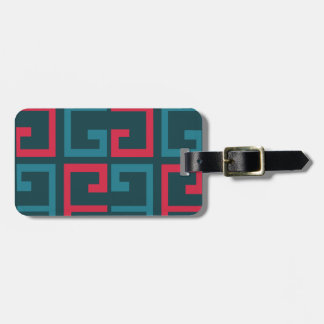 Slate Blue and Pink Tile Luggage Tag