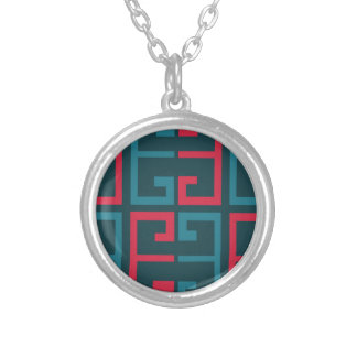 Slate Blue and Pink Tile Silver Plated Necklace