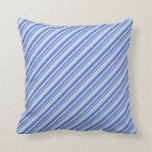 [ Thumbnail: Slate Blue and Powder Blue Colored Stripes Pillow ]