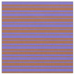 [ Thumbnail: Slate Blue and Sienna Lined Pattern Fabric ]