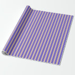 [ Thumbnail: Slate Blue and Tan Striped Pattern Wrapping Paper ]