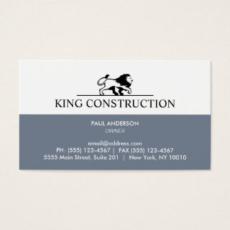 Slate Blue and White Lion Logo Business Card