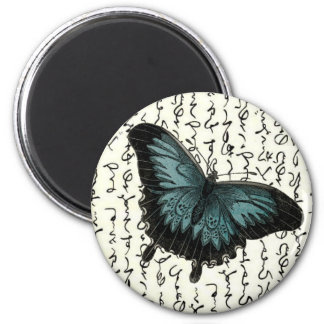 Slate Blue & Black Butterfly on Asian Writing 2 Inch Round Magnet