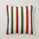 [ Thumbnail: Slate Blue, Black, Green, Red, and Beige Colored Throw Pillow ]
