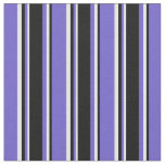 [ Thumbnail: Slate Blue, Black & Mint Cream Colored Pattern Fabric ]