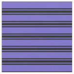 [ Thumbnail: Slate Blue & Black Striped Pattern Fabric ]