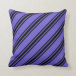 [ Thumbnail: Slate Blue & Black Striped Pattern Throw Pillow ]