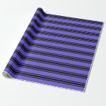 [ Thumbnail: Slate Blue & Black Striped Pattern Wrapping Paper ]