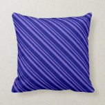 [ Thumbnail: Slate Blue & Blue Pattern of Stripes Throw Pillow ]