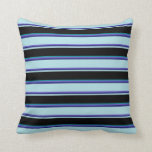[ Thumbnail: Slate Blue, Blue, Powder Blue, Black & Dark Cyan Throw Pillow ]