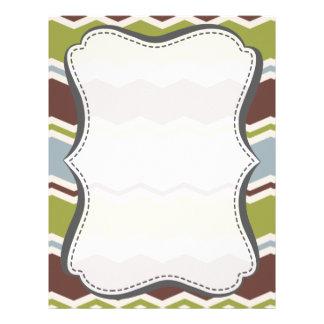 Slate Blue, Brown, & Olive Green Chevron Letterhead Design
