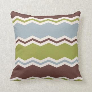 Slate Blue, Brown, & Olive Green Chevron Pillow