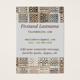 Slate Blue Brown Sari Mosaic Pattern Art Business Card