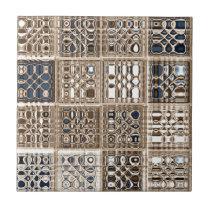 Slate Blue Brown Sari Mosaic Pattern Art Ceramic Tile