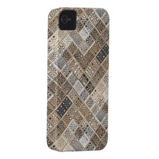 Slate Blue Brown Sari Mosaic Pattern Art iPhone 4 Case