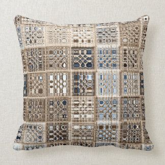 Slate Blue Brown Sari Mosaic Pattern Art Pillow