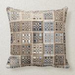 Slate Blue Brown Sari Mosaic Pattern Art Throw Pillow