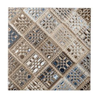 Slate Blue Brown Sari Mosaic Pattern Art Tile