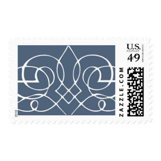 Slate Blue Calligraphy Scroll Stamp