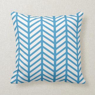 Slate Blue Chevron Folders Throw Pillow
