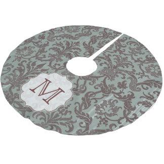 Slate Blue Damask Lace Monogram Initial Tree Skirt