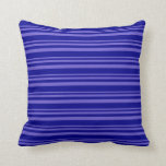 [ Thumbnail: Slate Blue & Dark Blue Stripes/Lines Pattern Throw Pillow ]