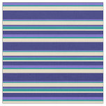 [ Thumbnail: Slate Blue, Dark Cyan, Tan & Midnight Blue Stripes Fabric ]