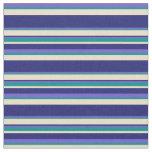 [ Thumbnail: Slate Blue, Dark Cyan, Tan & Midnight Blue Stripes Fabric ]