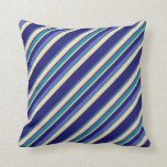 [ Thumbnail: Slate Blue, Dark Cyan, Tan & Midnight Blue Stripes Throw Pillow ]