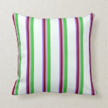[ Thumbnail: Slate Blue, Dark Red, Plum, Lime Green, Mint Cream Throw Pillow ]