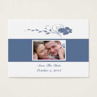 Slate Blue Flowing Flower Photo Save The Date Card