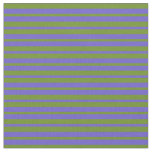 [ Thumbnail: Slate Blue & Green Colored Stripes/Lines Pattern Fabric ]