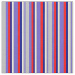 [ Thumbnail: Slate Blue, Grey, Beige, Blue, and Red Pattern Fabric ]