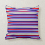 [ Thumbnail: Slate Blue, Grey, Beige, Blue, and Red Pattern Throw Pillow ]
