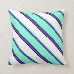 [ Thumbnail: Slate Blue, Indigo, Aquamarine, White, and Black Throw Pillow ]