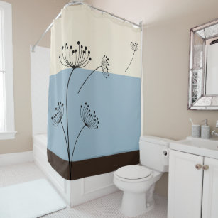 Slate Blue Ivory And Brown Wildflower Shower Curtain