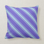 [ Thumbnail: Slate Blue & Light Blue Colored Lines Throw Pillow ]