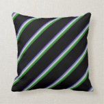 [ Thumbnail: Slate Blue, Light Grey, Forest Green, and Black Throw Pillow ]