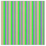 [ Thumbnail: Slate Blue, Lime & Tan Colored Lines Fabric ]