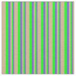 [ Thumbnail: Slate Blue, Lime & Tan Colored Lines Fabric ]