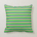 [ Thumbnail: Slate Blue, Lime & Tan Colored Lines Throw Pillow ]